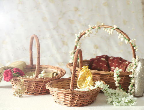 DaisyLife natural wicker round set of 3 wedding trousseau baskets for bridal wear & accessories