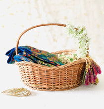 Load image into Gallery viewer, DaisyLife natural wicker wave shape wedding trousseau basket for bridal wear