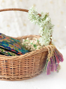 DaisyLife natural wicker wave shape wedding trousseau basket for bridal wear