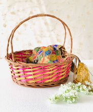 "Load image into Gallery viewer, ""Pink & Yellow Vines"" Natural Wicker Round Gift Basket (M&B, set of 2 sizes)"