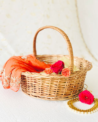DaisyLife natural wicker round basket with handle for wedding clothes & jewelry