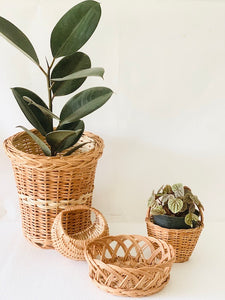 Set of 4 pcs (Medium)- Planter, Moon basket, Flower basket & Crown basket
