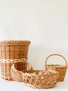 Set of 4 pcs (Small)- Planter, Moon basket, Flower basket & Crown basket