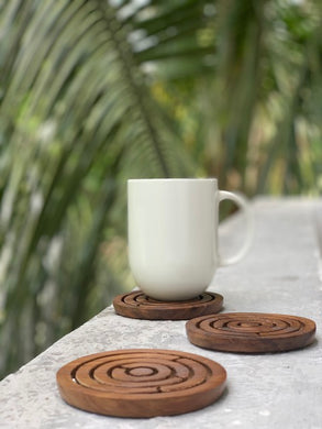 Set of 2 wooden game coasters