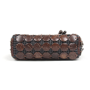 Debonair Coco - Natural brown coconut shell mini handbag