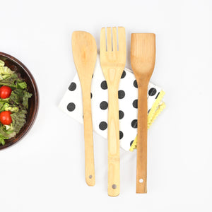 Daisylife Natural and Eco-friendly Bamboo Mixing and Serving Spoons for Salads
