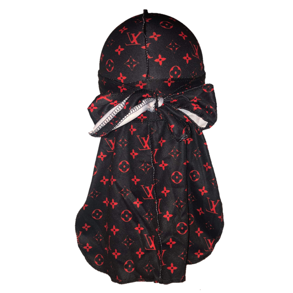 Louis Vuitton Durag (Black & Red)-duragsbyday-Durags by Day