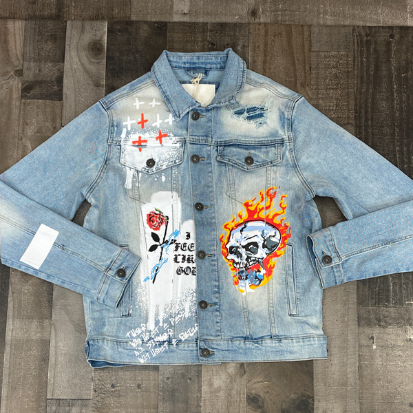 Kloud 9- denim jacket w/skull patch