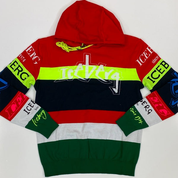 Iceberg- multi color hooded sweater w multiple iceberg logos