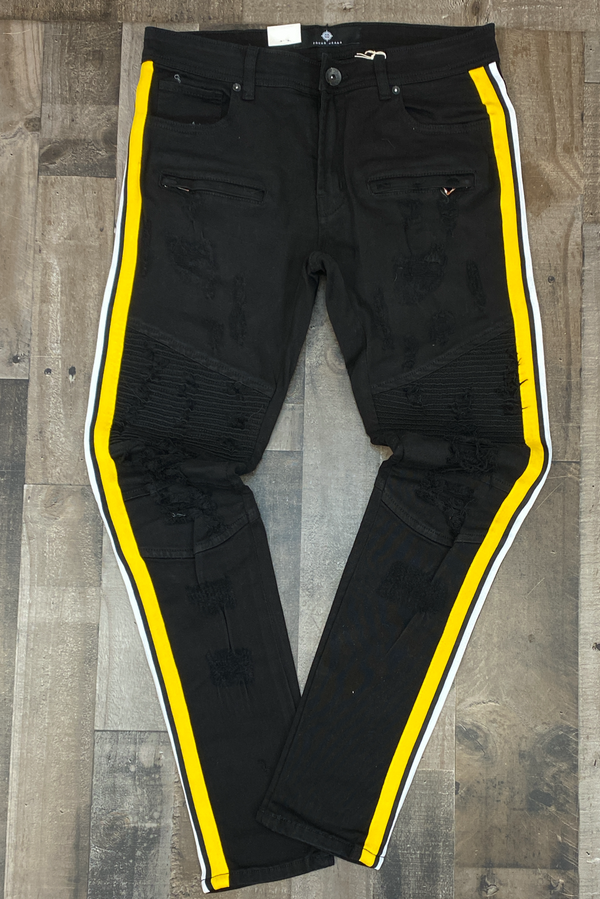 Focus- striped jeans (black/yellow)