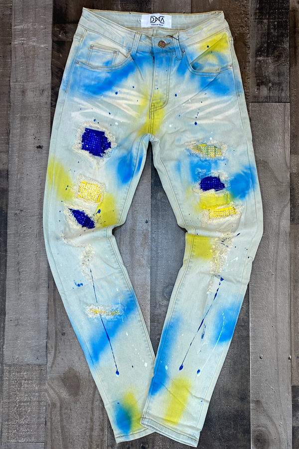 Dna Premium Wear- studded patch w/spray paint jeans (blue/yellow)