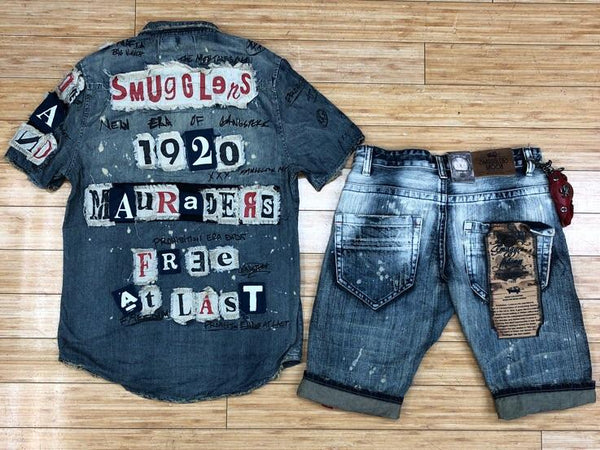Smuggler- indigo patched shorts sets