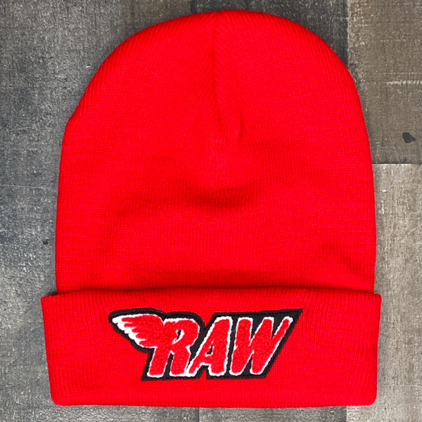 Rawyalty- raw chenille patch knit hat (red)