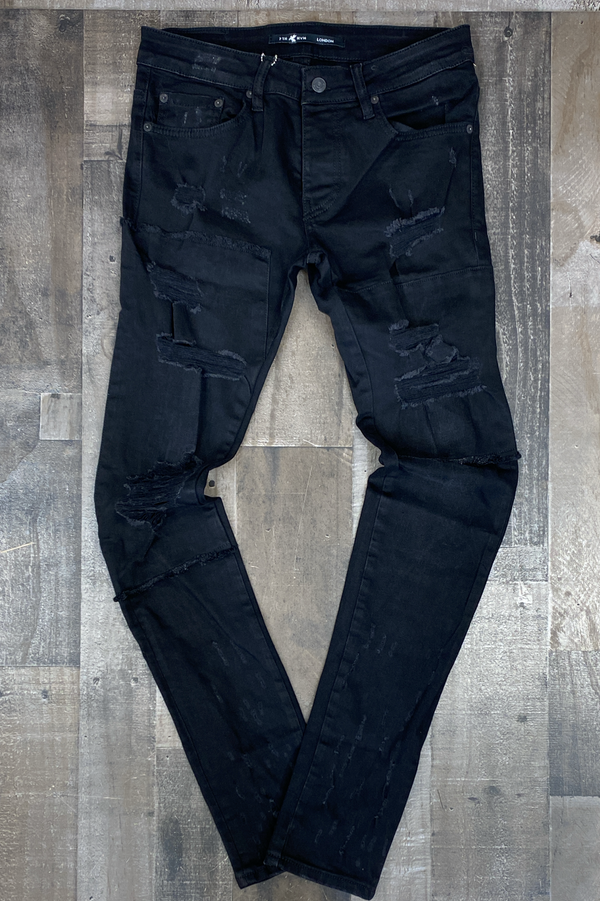 7th hvn- jeans w/shreds (black)
