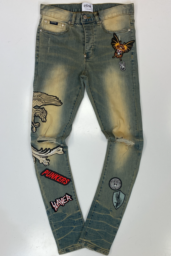 Mackeen- patched jeans