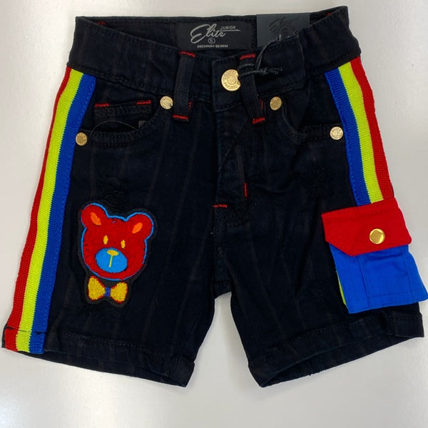 Elite- striped denim shorts w/bear (kids)