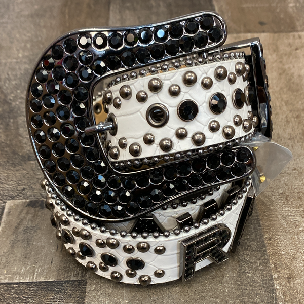 Rawyalty- raw studded belt (white/black)