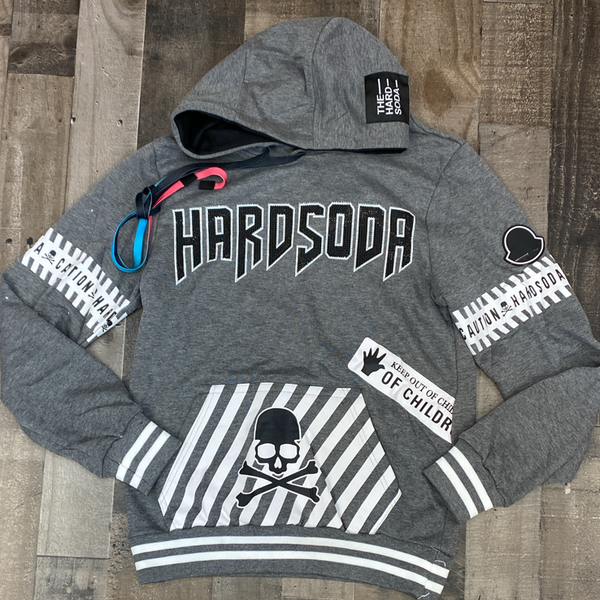 Hard Soda- studded hard soda hoodie (grey)