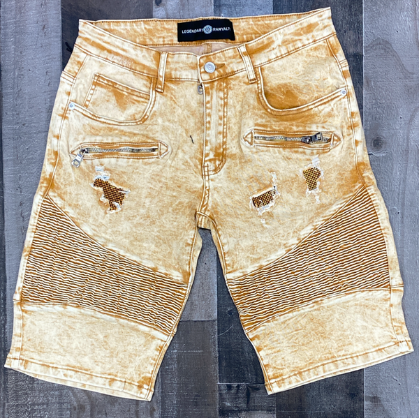 Rawyalty- tan denim shorts w/gold stones
