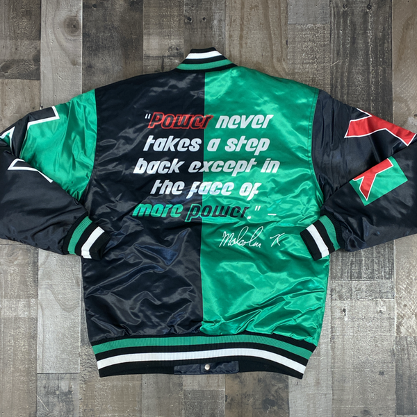 Headgear Classics- Malcolm X satin jacket (green/black)