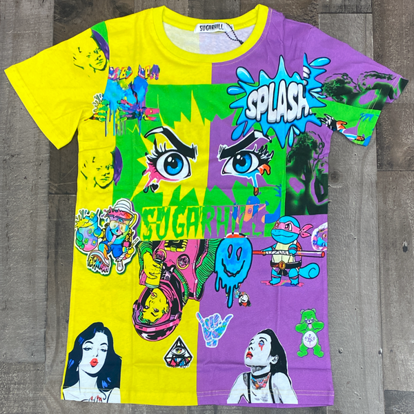 Sugarhill- split psycho ss tee (yellow/purple)
