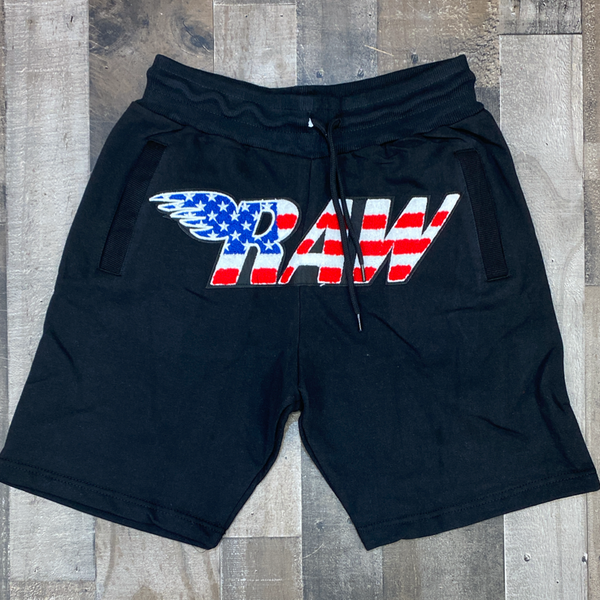 Rawyalty- USA raw chenille patch shorts (black)