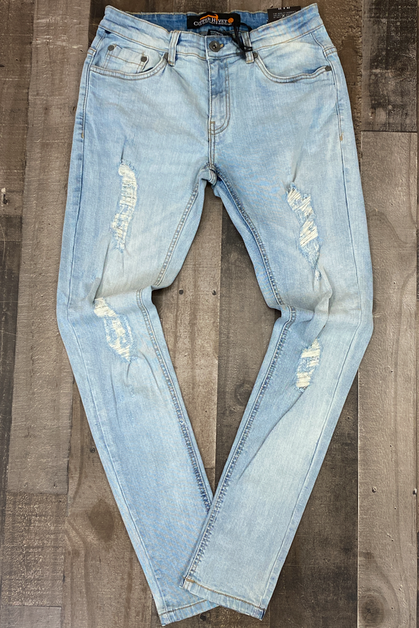 Copper Rivet- light wash jeans w/tinted rips