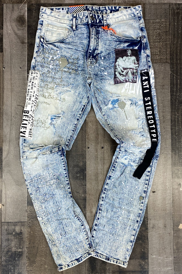 Smoke rise- collage patch jeans (black strap)