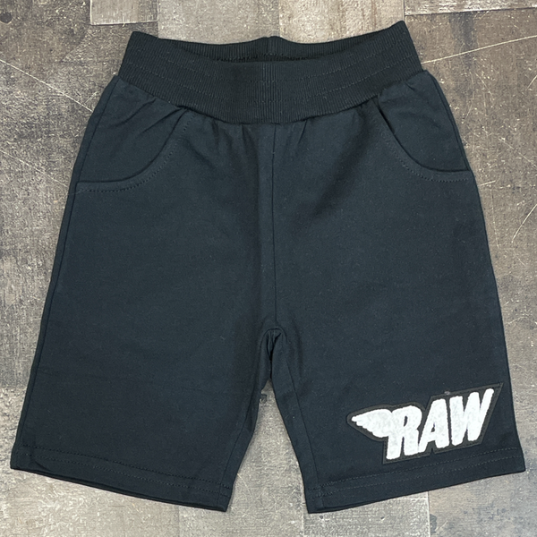 Rawyalty- raw chenille patch shorts (black/white) (kids)