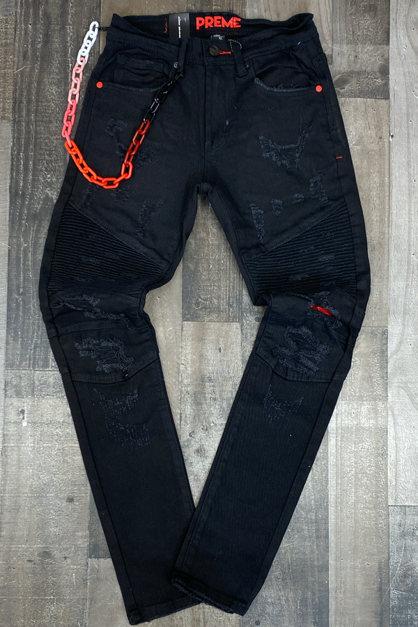 Preme- colored chain jeans