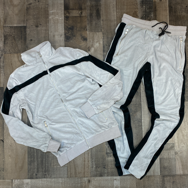 Jordan Craig- velour striped sweatsuit