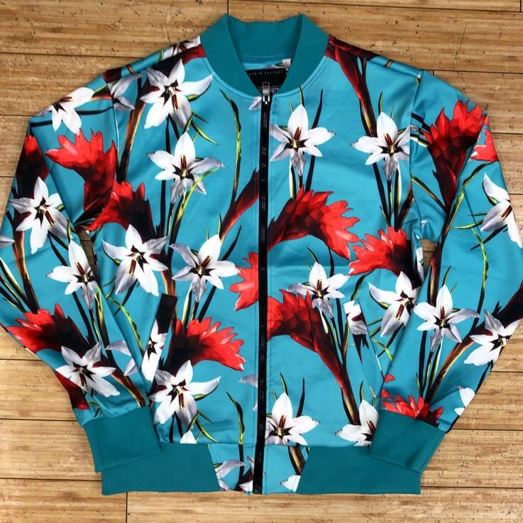 Copper rivet-poly jersey floral print color jacket