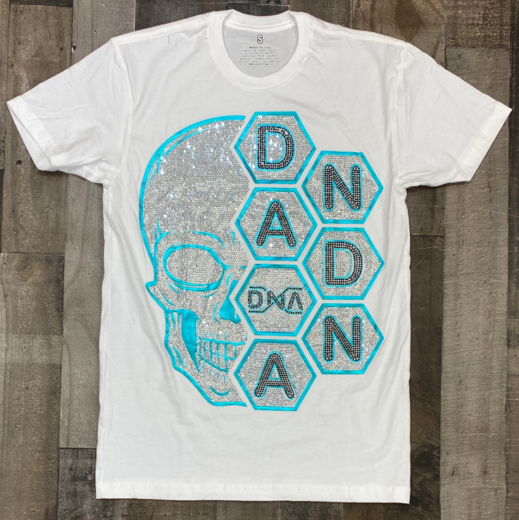 Dna Premium Wear- studded dna skull ss tee (white/teal)