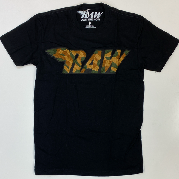 Rawyalty-raw camo chenille patch ss tee (black)