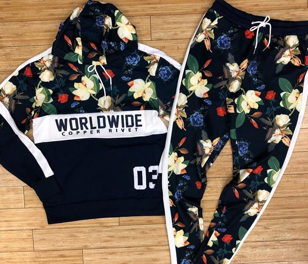 Copper rivet- worldwide floral tracksuit