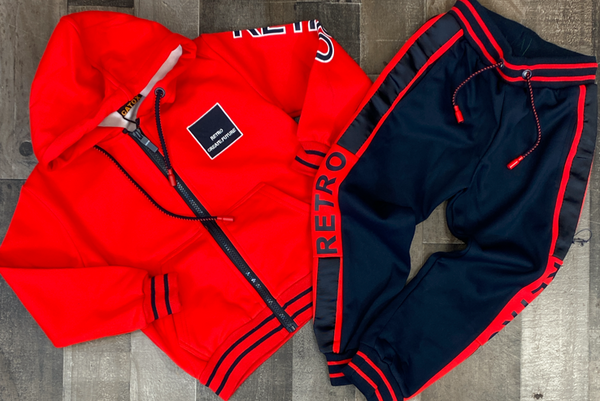 Catox Denim- retro sweatsuit (red/navy) (kids)