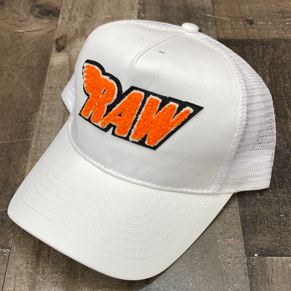Rawyalty- raw chenille patch hat (white/orange)