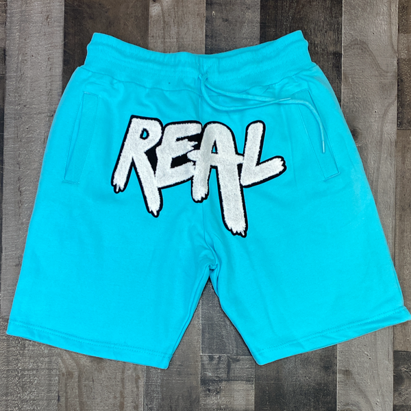 Rawyalty-real chenille patch shorts (teal)