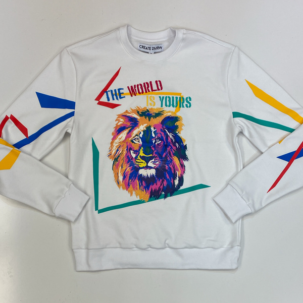 Create Tmrw- multi color lion graphic sweatshirt