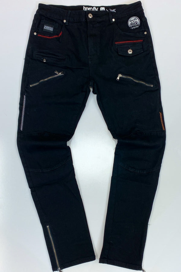 Born fly- zippered denim jeans