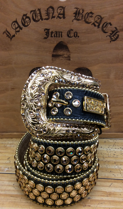 Laguna beach- Capistrano black crocodile leather belt covered w. gold stones