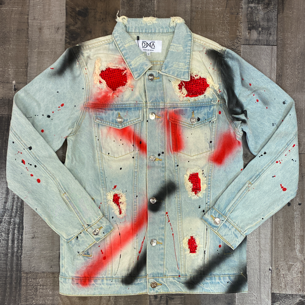 Dna Premium Wear- studded color patch jean jacket (black/red)