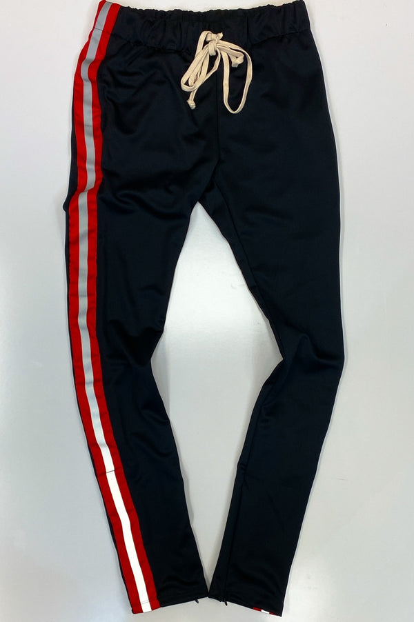 Eptm- reflective track pants(black/red)