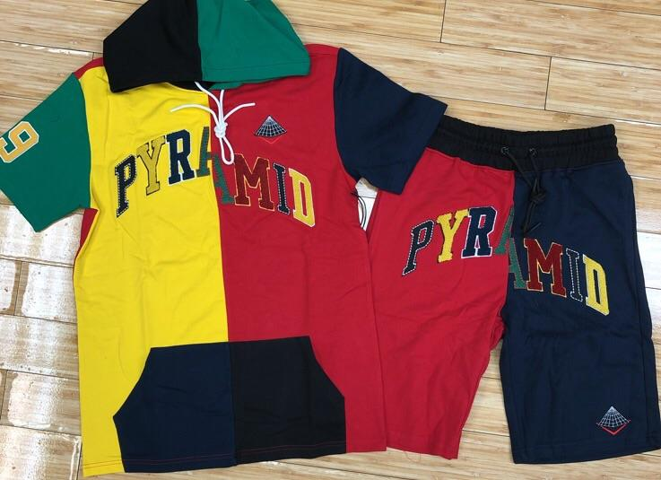 Black pyramid- varsity split hoody shorts sets