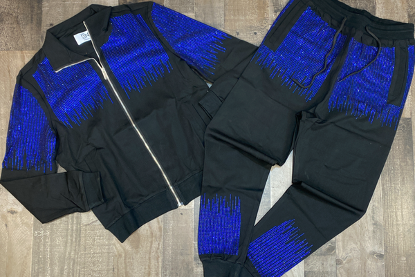Dna Premium Wear- studded sweatsuit (black/blue)