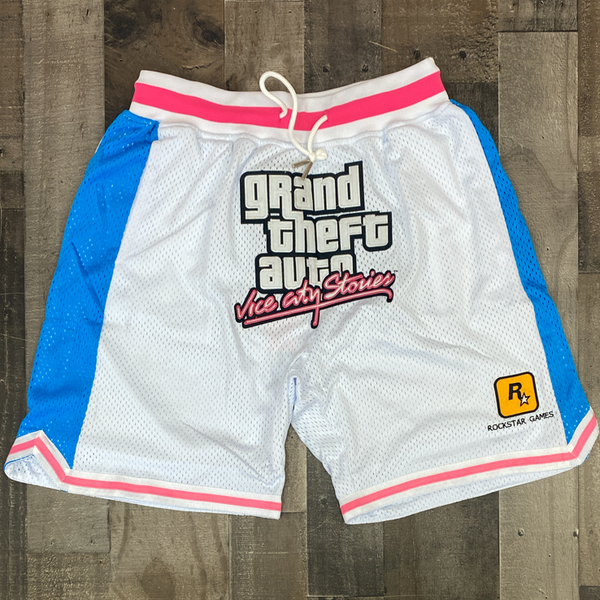 Headgear Classics- gta vice city satin shorts (white)