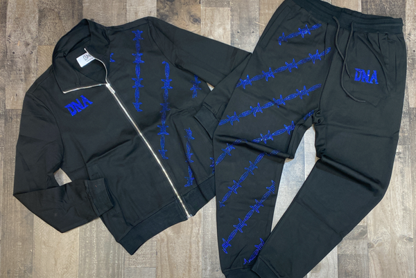 Dna Premium Wear- studded wire sweatsuit (black/blue)