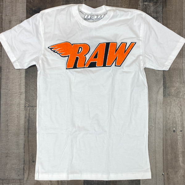 Rawyalty- raw chenille patch ss tee(white/orange)