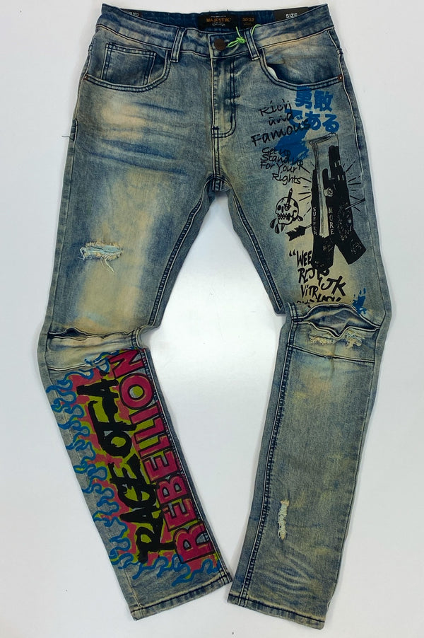Majestik- hand painted denim jeans