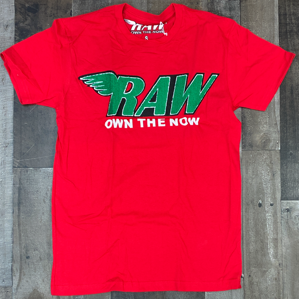 Rawyalty- raw chenille patch ss tee(red/green)